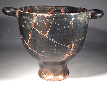Ancient Greek Blackware Skyphos Krater Vessel