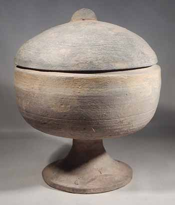 Han Dynasty Terracotta Pottery Pedestal Bowl with Cover Lid