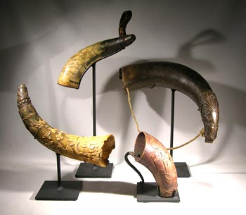 Carved and Incised Antique Horns Custom Display Stands - Front