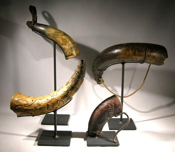 Carved and Incised Antique Horns Custom Display Stands - Back