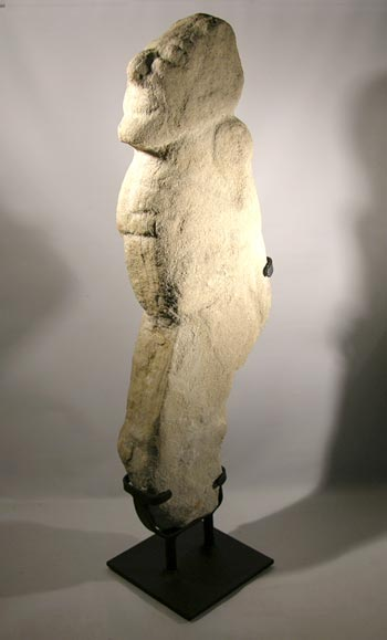 Early Classic Huastec Stone Boundary Marker Custom Display Stand - Back