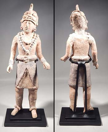 Ancient Maya Jaina Island Standing Figure Custom Display Stand.