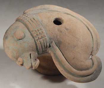 Pre-Columbian Jama Coaque Dolphin Lime Pot container Vessel Ecuador