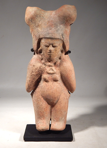 Pre-Columbian Ecuador, Jamacoaque Standing Female Double Whistle Figure