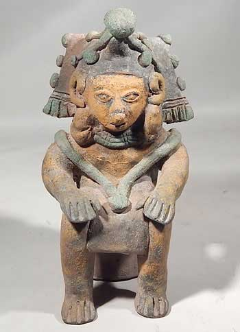 Pre-Columbian Ecuador, Jamacoaque Seated Shaman Effigy Figure