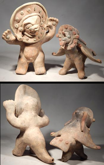 Pre-Columbian Ecuador, Jamacoaque Shaman Transformation Whistle Figures