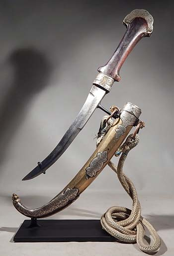 Antique Moroccan Jambiya Dagger and Sheath Custom Display Stand (front).