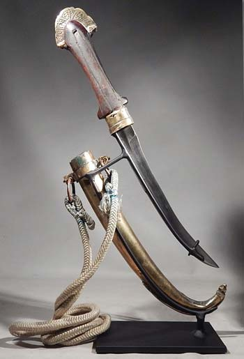 Antique Moroccan Jambiya Dagger and Sheath Custom Display Stand (back).
