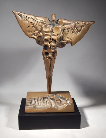Bronze Sculpture by Slovenian surrealist Janez Boljka Custom Display Stand. (front)