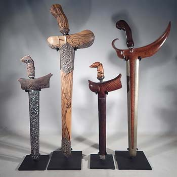 South East Asian Kris (Keris) Knives and Swords Custom Display Stand (front).