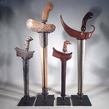 South East Asian Kris (Keris) Knives and Swords Custom Display Stand (back).