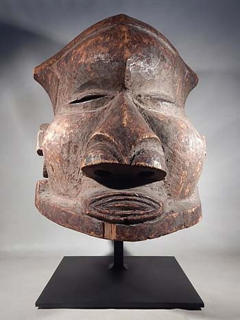 African Kuba Bwoom Helment Mask Custom Display Stand (front).