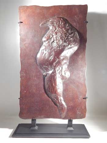 Bronze Relief Sculpture Birdman American artist Leonard Baskin Custom Display (front).