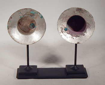 Ancient Lambayeque Silver Ear Spools Flares Custom Display Stand (front)