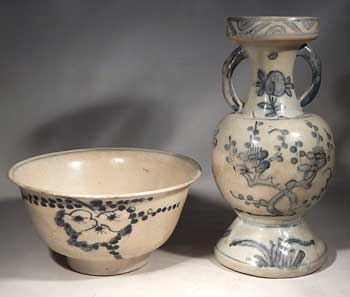 Late Ming Dynasty Early Qing Dynasty Bowl and Vase