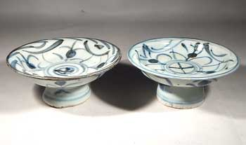 Late Ming Dynasty Dynasty Footed Offering Plates Dish Vessels