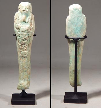 Blue Faience Late Period Egyptian Ushabti Figure