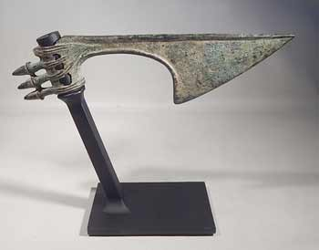 Ancient Luristan Bronze Axe Head Custom Display Stand (front).