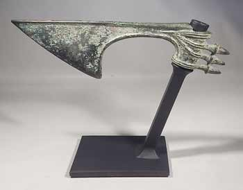 Ancient Luristan Bronze Axe Head Custom Display Stand (back).