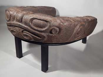 Pre-Columbian Maya Mayan Stone Frog Yoke Yugo Custom Display (back).