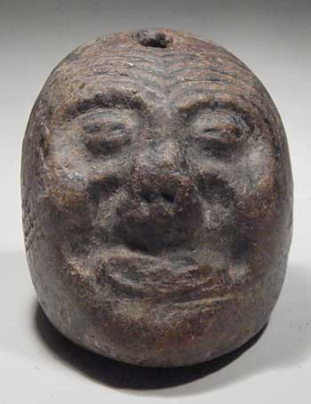 Pre-Columbian Maya Old God Pottery Head Pendant