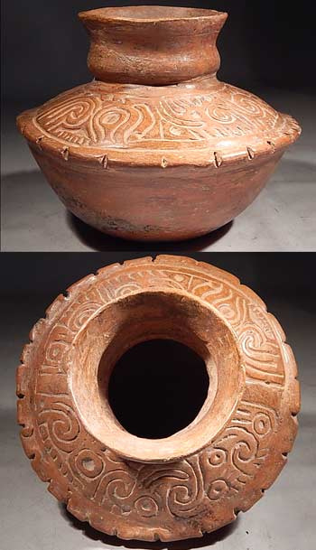 Ancient Maya Guatemala Tiquisate Carved Vessel Vase