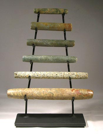 Large Maya Stone Jade Tube Beads Custom Display Stand - Front