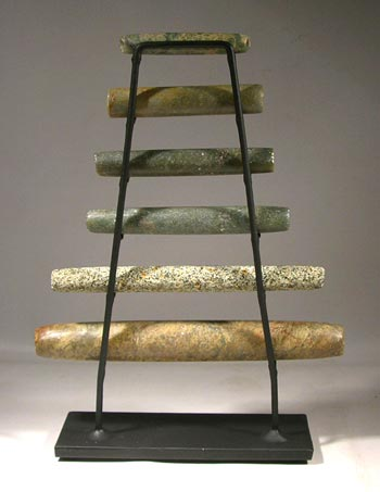 Large Maya Stone Jade Tube Beads Custom Display Stand- Back