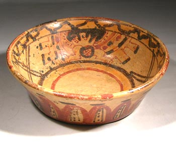 Maya Ulua Valley Polychrome Bat God Bowl