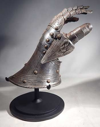 Medieval Gauntlet Armor Glove 15th - 16th Century Custom Display Stand (front).