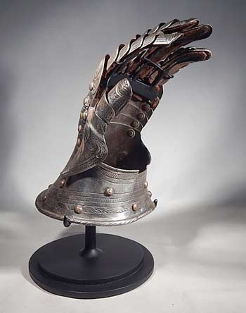 Medieval Gauntlet Armor Glove 15th - 16th Century Custom Display Stand (back).