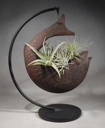 Japanese Meiji Period Cast Iron Koi Fish Planter Custom Display Stand with 'Tillandsia' bromeliads (air-plants).