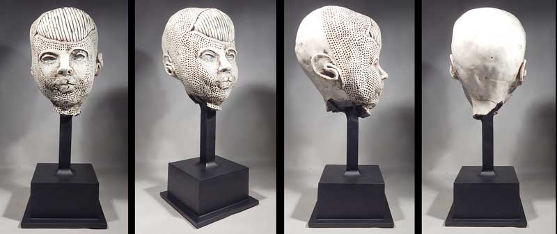 American Artist Michele Oka Doner Porcelain Head Sculpture Custom Display Stand.