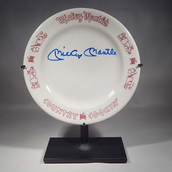 Mickey Mantle Signed Autographed Country Cookin Plate Custom Display Stand (front).