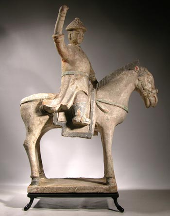 Ming Ming Dynasty Horse and Rider Custom Display Stand - front
