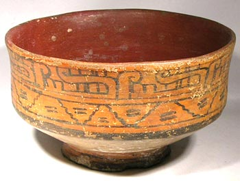 Mixted Painted Footed Pottery Bowl