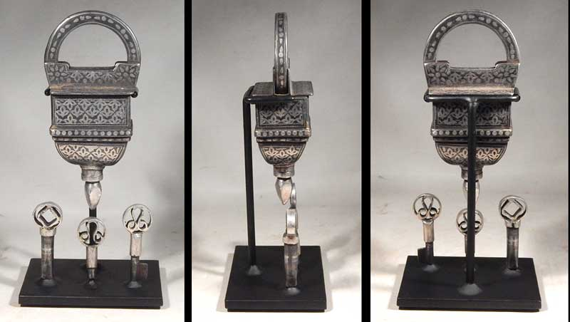 Northern India Antique Silver Mughal Secret Mystery Lock with three keys. Custom Display Stand
