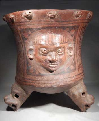 Ancient Pre-Columbian Narino Tripod Urn Vessel Colombia