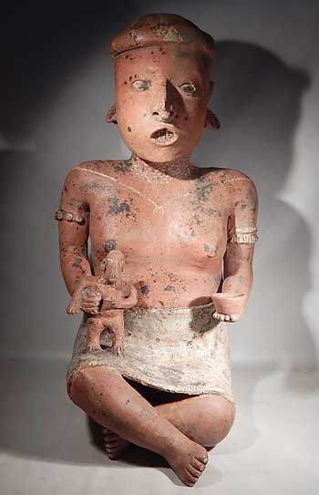 Pre-Columbian Nayarit Monumental Seated Artisan Artist Ancient West Mexico