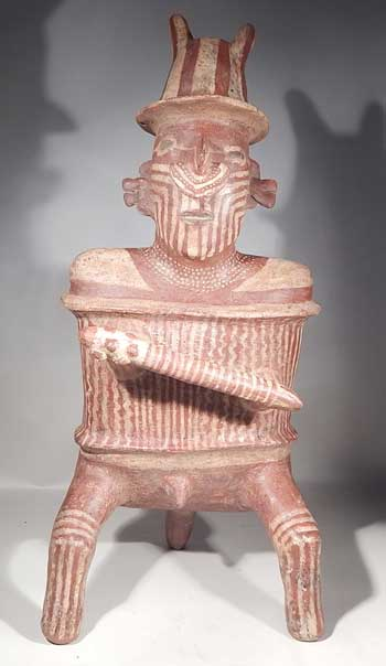 Pre-Columbian West Mexico Nayarit Painted Warrior Figure