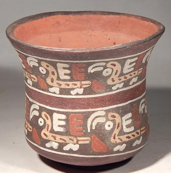Nazca Polychrome Birds Pottery Vessel