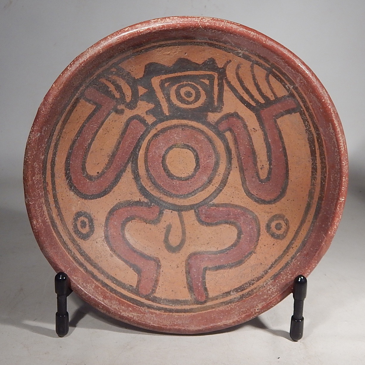 Pre Columbian Costa Rica Nicoya Pottery Polychrome Dancing Monkey Deity God Bowl Vessel