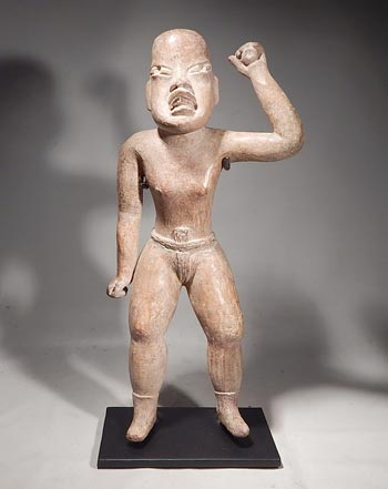Ancient Olmec Terracotta Ball Player Figure Custom Display Stand (front)