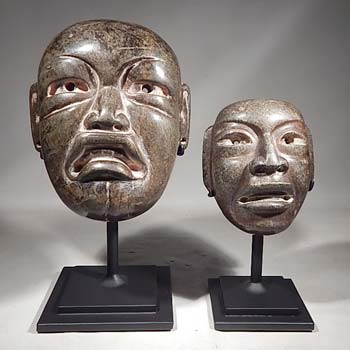 Olmec Style Stone Masks Custom Display Stands (front).