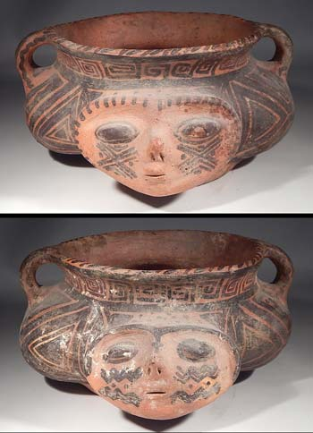 Pre-Columbian Omereque Bolivian Pottery Bowl Janus Vessel