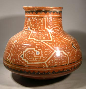 Orange Shipibo Pottery Olla-Form Vessel