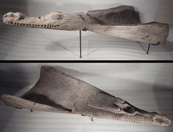 Papua New Guinea Crocodile Canoe Prow Wooden Carved