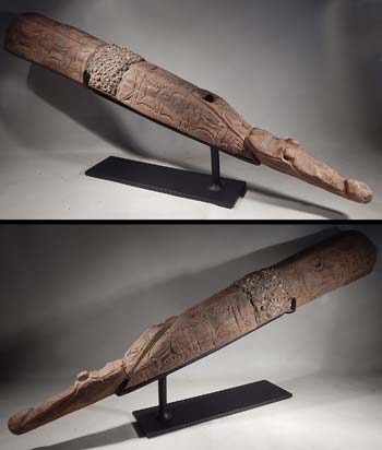 Papua New Guinea Carved Wood Sepik Iatmul War Trumpet