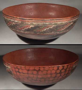 Pre-Columbian Peru Paracas Incised Jaguar Spotted Bowl Vessel