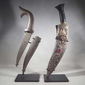 Antique Persian Daggers Knifes Custom Display Stands (front).